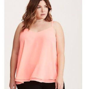 TORRID CORAL DOUBLE LAYER CHIFFON SWING CAMI